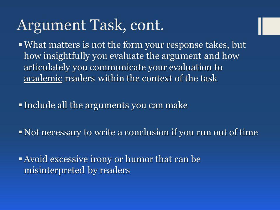 Argument Task, cont.