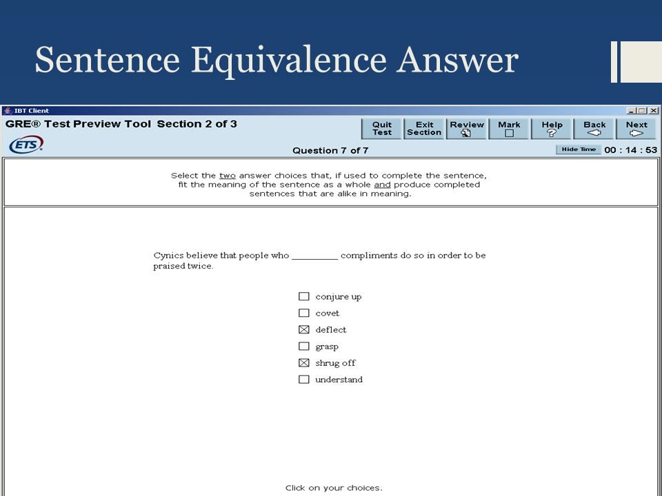 Sentence Equivalence Answer