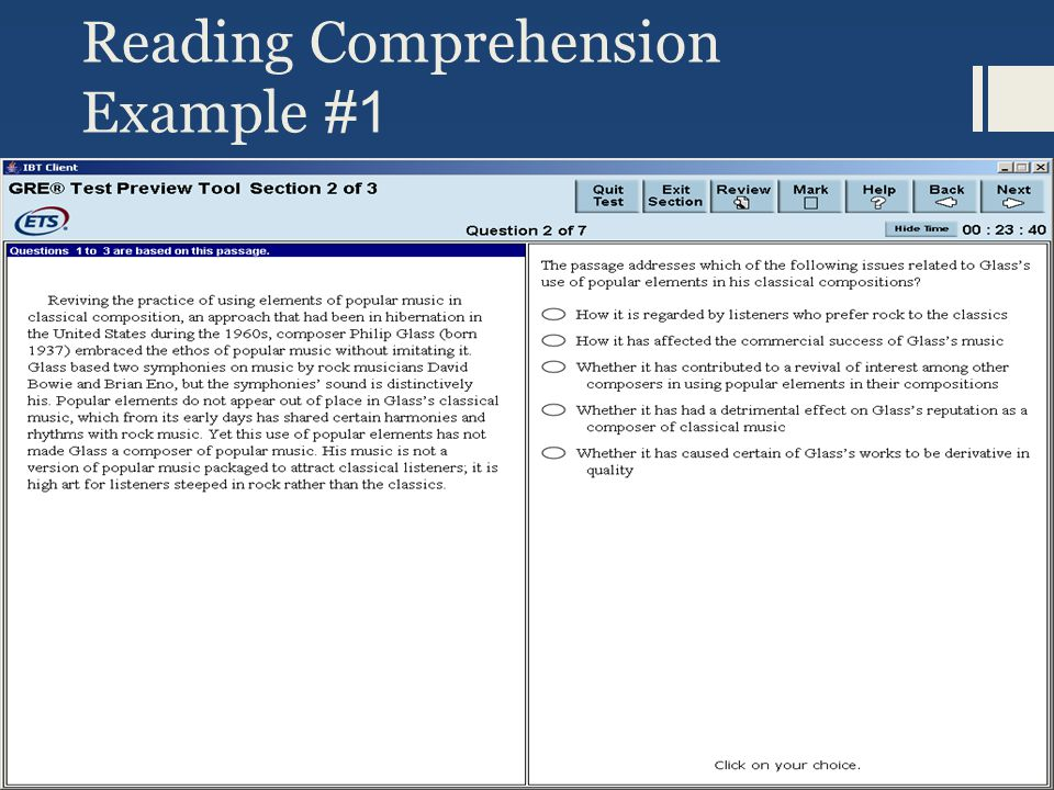 Reading Comprehension Example #1