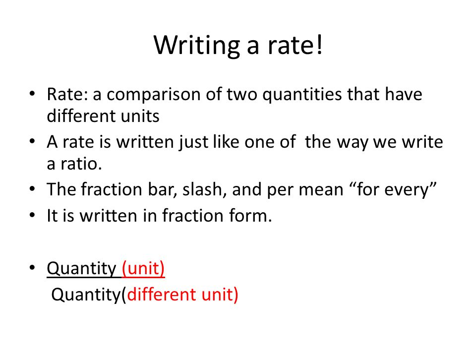 Writing a rate.