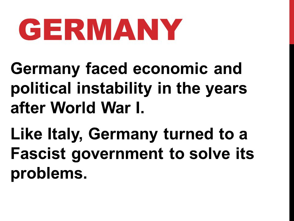 PARTNER QUESTIONS 1.What problem did Germany face that was similar to Italy and Japan.