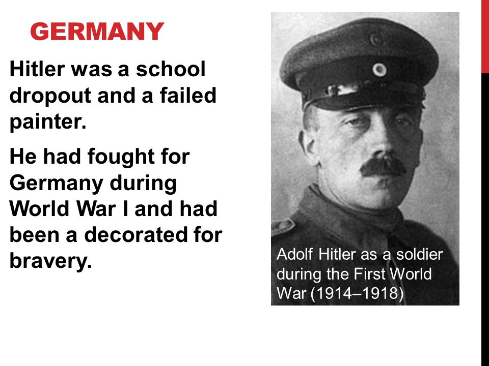 GERMANY After WWI, Hitler settled in Munich, where he became the leader of the Nazi party.