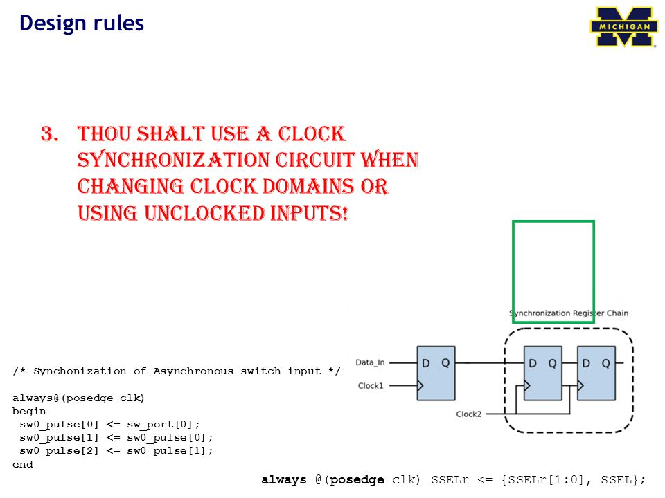 Design rules 3.Thou shalt use a clock synchronization circuit when changing clock domains or using unclocked inputs.