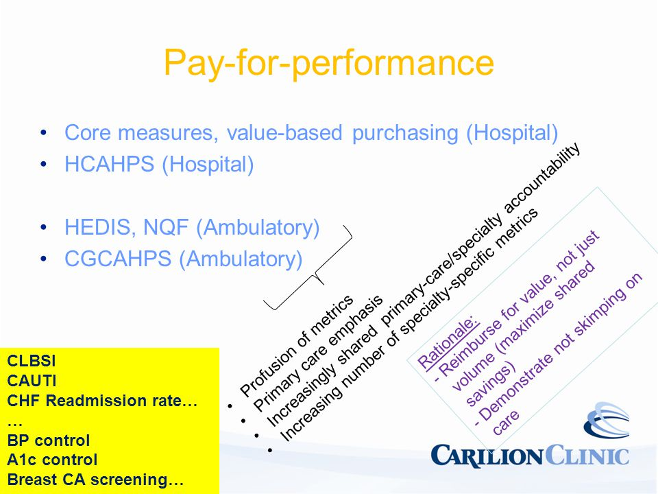 Pay-for-performance Core measures, value-based purchasing (Hospital) HCAHPS (Hospital) HEDIS, NQF (Ambulatory) CGCAHPS (Ambulatory) Profusion of metrics Primary care emphasis Increasingly shared primary-care/specialty accountability Increasing number of specialty-specific metrics Rationale: - Reimburse for value, not just volume (maximize shared savings) - Demonstrate not skimping on care CLBSI CAUTI CHF Readmission rate… … BP control A1c control Breast CA screening…