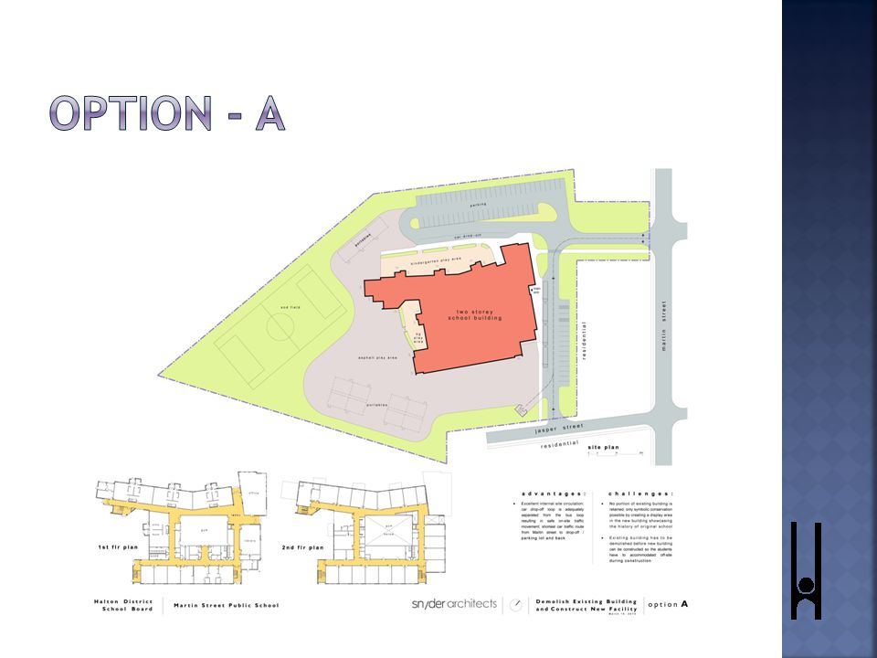  Build in the existing location of the school.