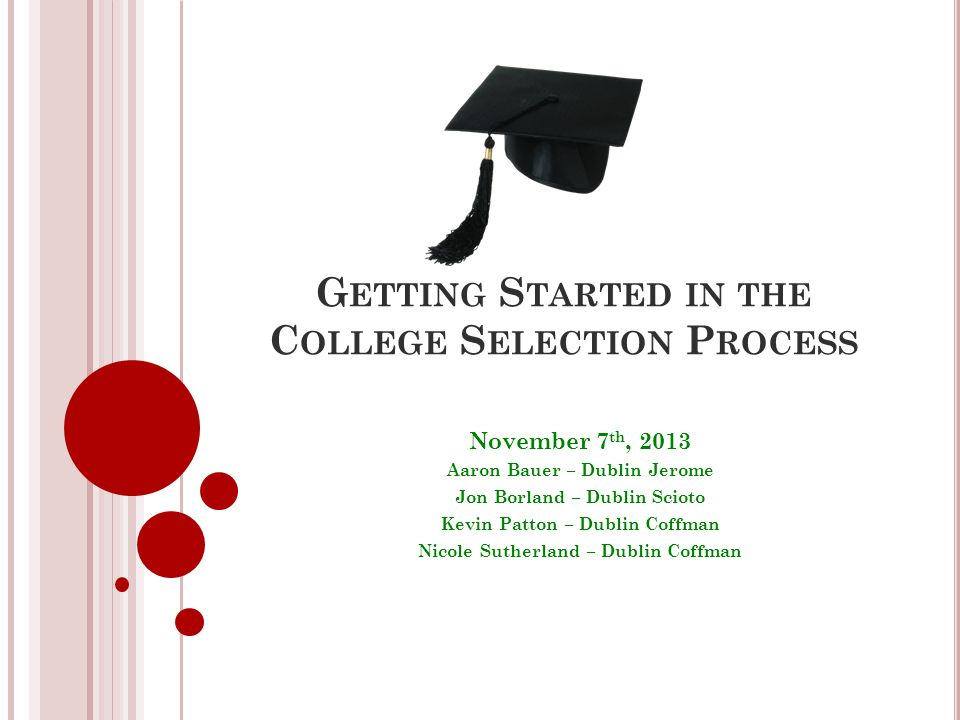 S ELECTING A COLLEGE : WHERE TO START .Develop criteria Your ideal school.