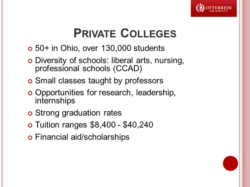 P RIVATE C OLLEGES 50+ in Ohio, over 130,000 students Diversity of schools: liberal arts, nursing, professional schools (CCAD) Small classes taught by professors Opportunities for research, leadership, internships Strong graduation rates Tuition ranges $8,400 - $40,240 Financial aid/scholarships
