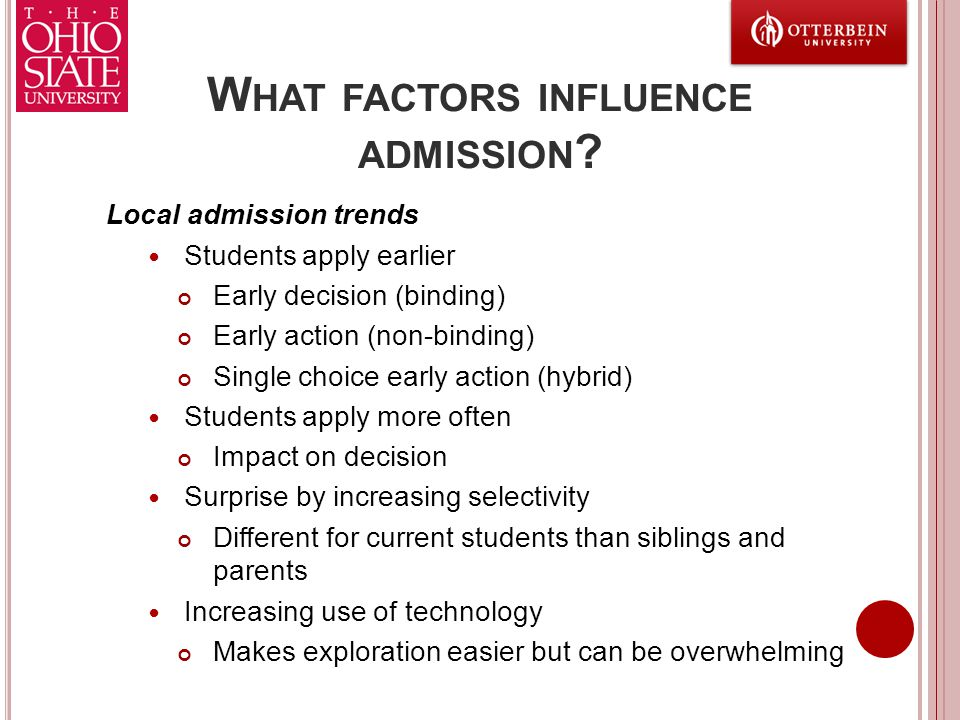 W HAT FACTORS INFLUENCE ADMISSION ? Local admission trends Students apply earlier Early decision (binding) Early action (non-binding) Single choice ea