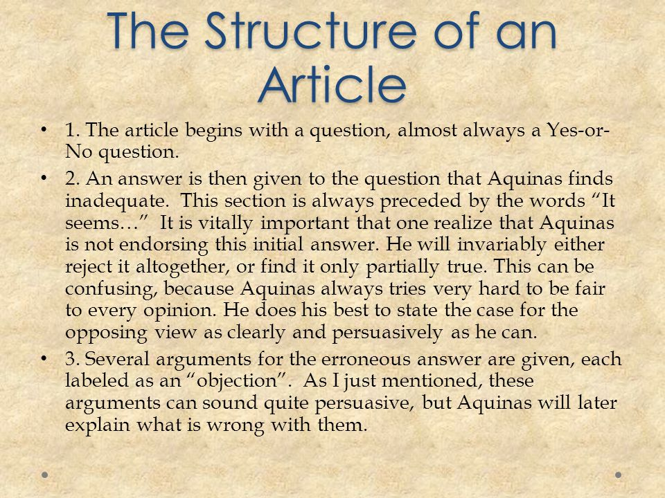 The Structure of an Article 1.