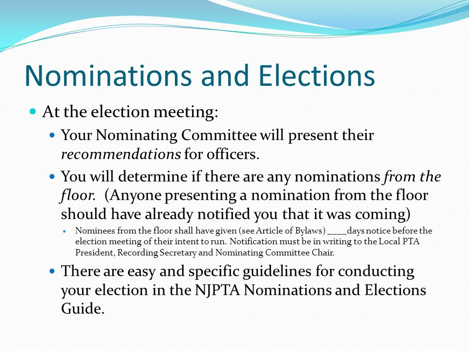 Nominations and Elections There shall be a nominating committee composed of _____ (at least three and always an uneven number) who shall be elected at