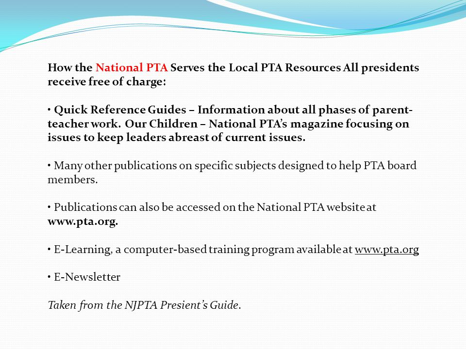 YOU ARE NOT ALONE National PTA State PTA County PTA Local PTA