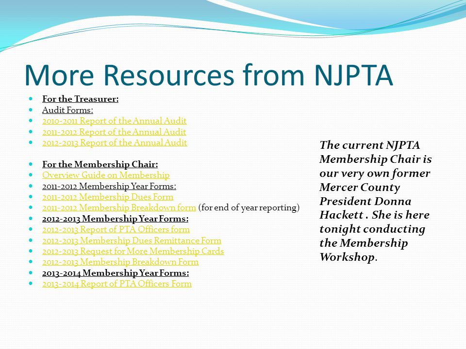Guidebooks available at NJPTA 2011-2013 Handbook - revised 7/2012 2011-2013 Handbook 2011-2013 President's Guidebook - revised 7/2012 2011-2013 Presid