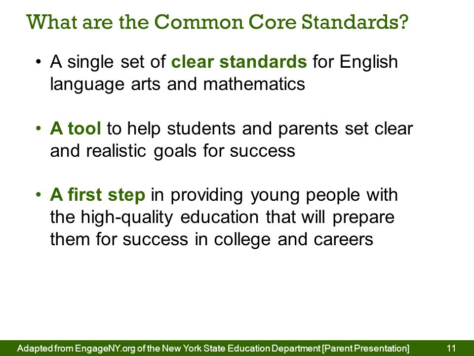 11 What are the Common Core Standards.