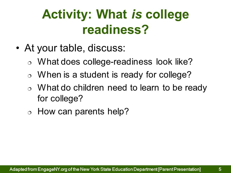Activity: What is college readiness.