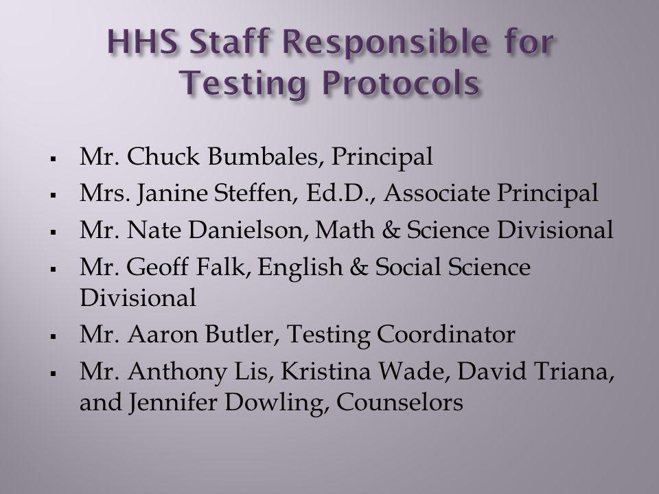  Mr. Chuck Bumbales, Principal  Mrs. Janine Steffen, Ed.D., Associate Principal  Mr.