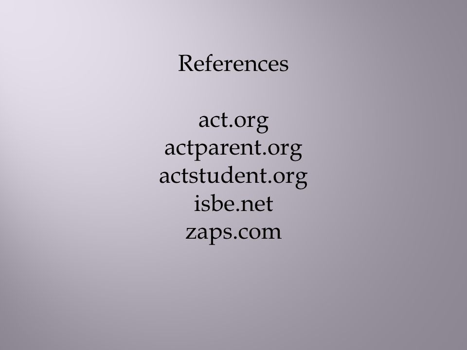 References act.org actparent.org actstudent.org isbe.net zaps.com