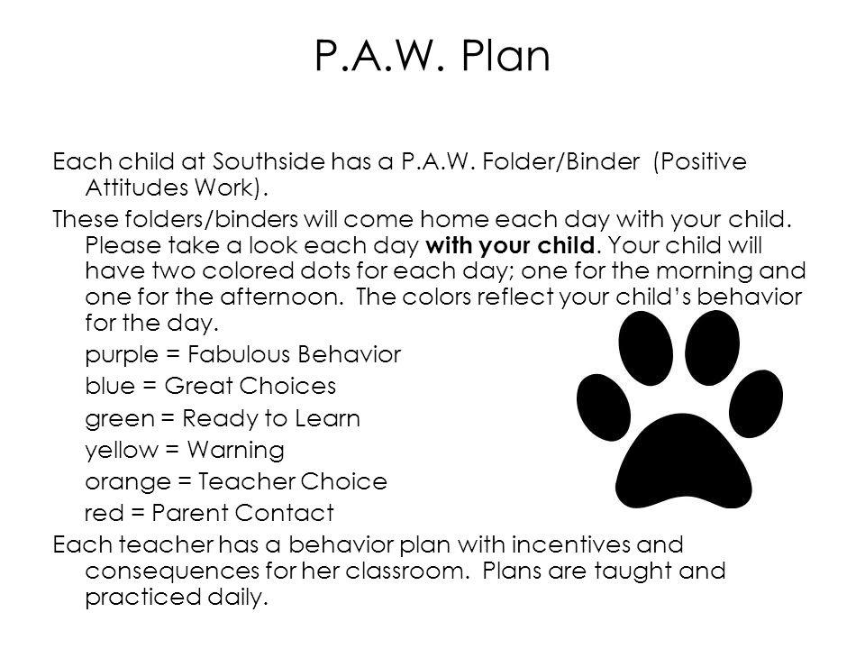 P.A.W.Plan Each child at Southside has a P.A.W. Folder/Binder (Positive Attitudes Work).