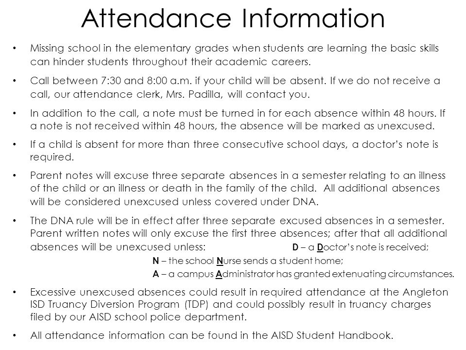 Attendance Information Missing school in the elementary grades when students are learning the basic skills can hinder students throughout their academic careers.