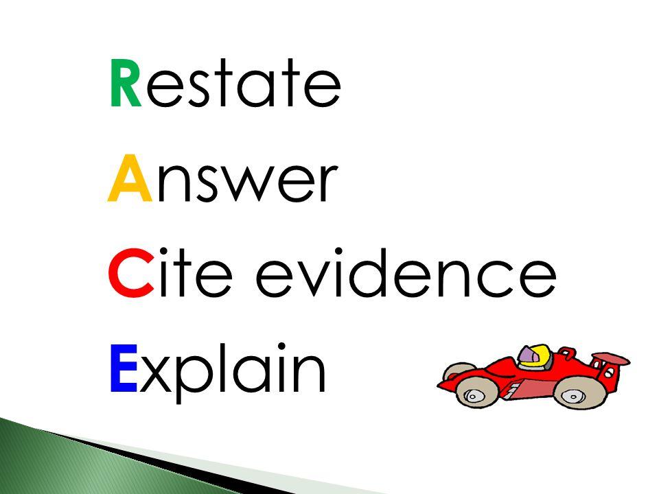 R estate A nswer C ite evidence E xplain