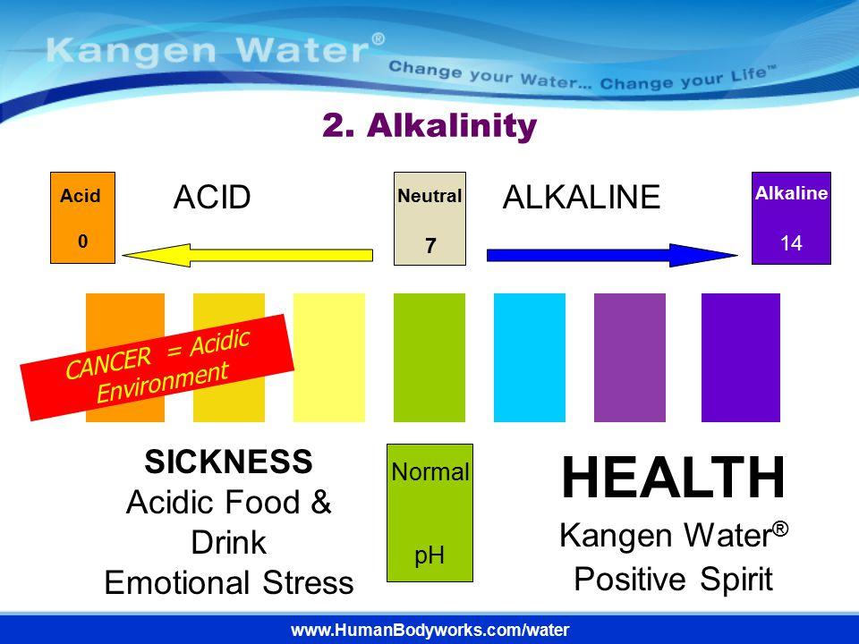 2. Alkalinity HEALTH Kangen Water ® Positive Spirit Alkaline 14 Normal pH ACIDALKALINE Neutral 7 Acid 0 SICKNESS Acidic Food & Drink Emotional Stress