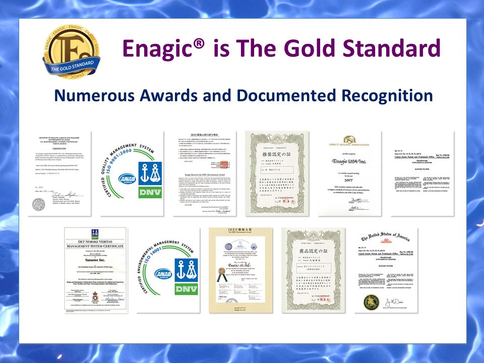 Enagic® is The Gold Standard Numerous Awards and Documented Recognition