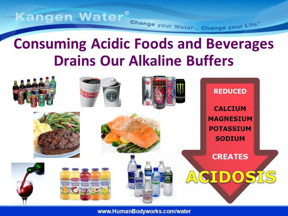 www.HumanBodyworks.com/water REDUCED CALCIUM MAGNESIUM POTASSIUM SODIUM CREATES Consuming Acidic Foods and Beverages Drains Our Alkaline Buffers