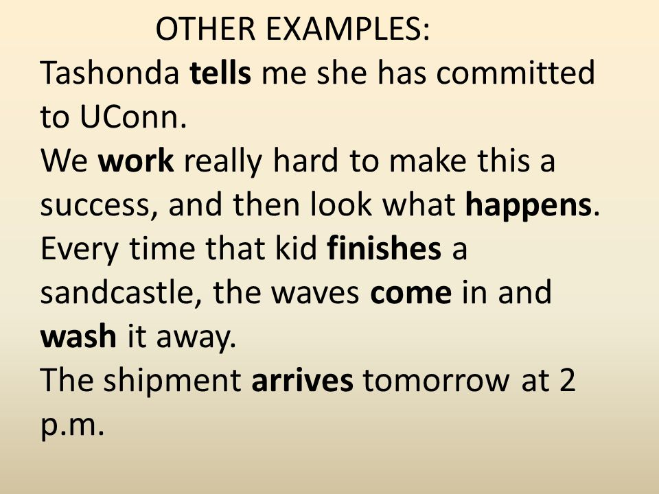 OTHER EXAMPLES: Tashonda tells me she has committed to UConn. We work really hard to make this a success, and then look what happens. Every time that