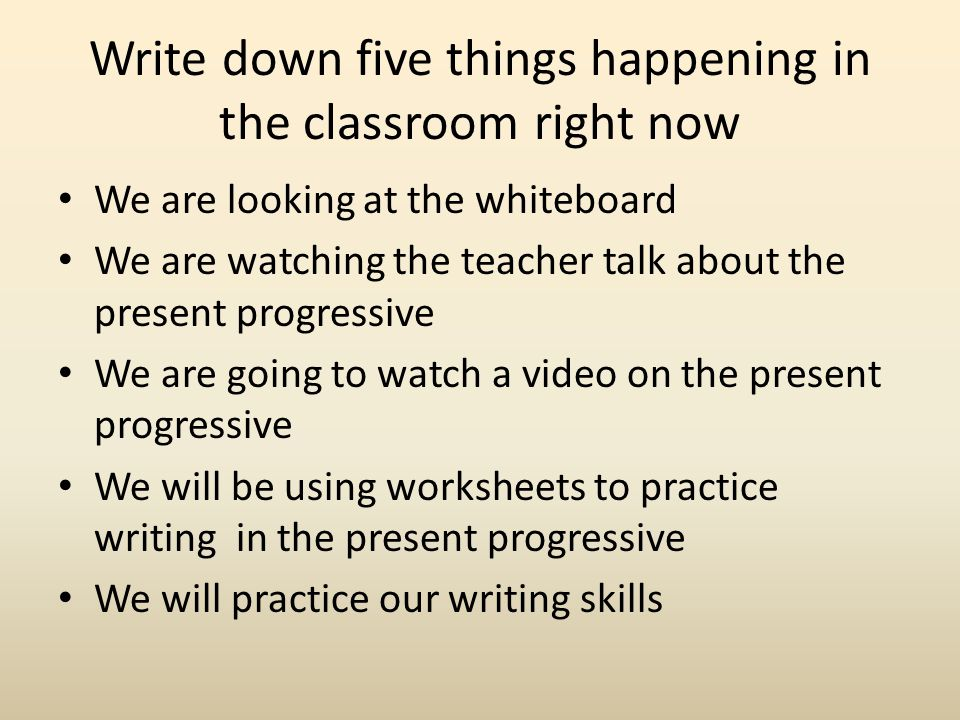 Present Progressive = Exercise 1 Change the verb into the correct form.