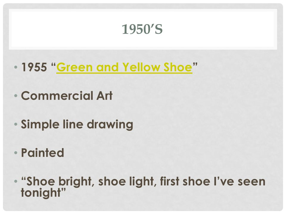 1950'S 1955 Green and Yellow Shoe Green and Yellow Shoe Commercial Art Simple line drawing Painted Shoe bright, shoe light, first shoe I've seen tonight