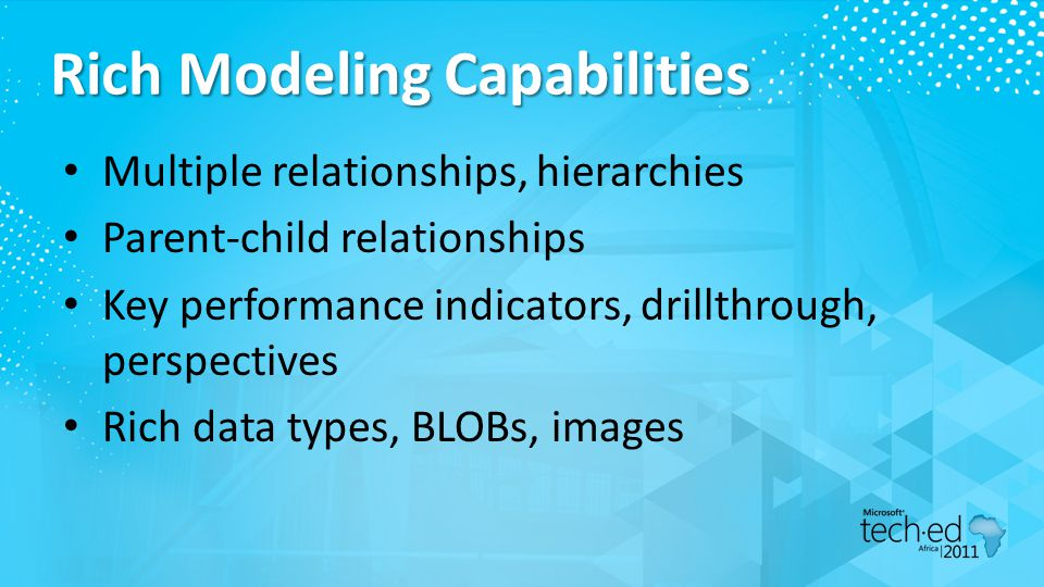 Rich Modeling Capabilities Multiple relationships, hierarchies Parent-child relationships Key performance indicators, drillthrough, perspectives Rich