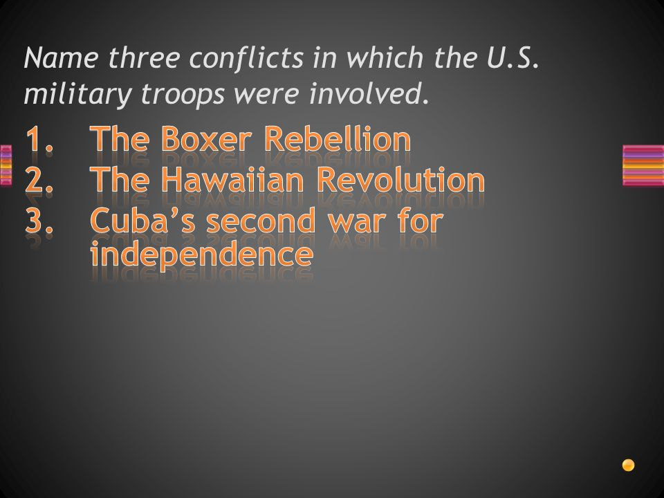 Name three conflicts in which the U.S. military troops were involved.