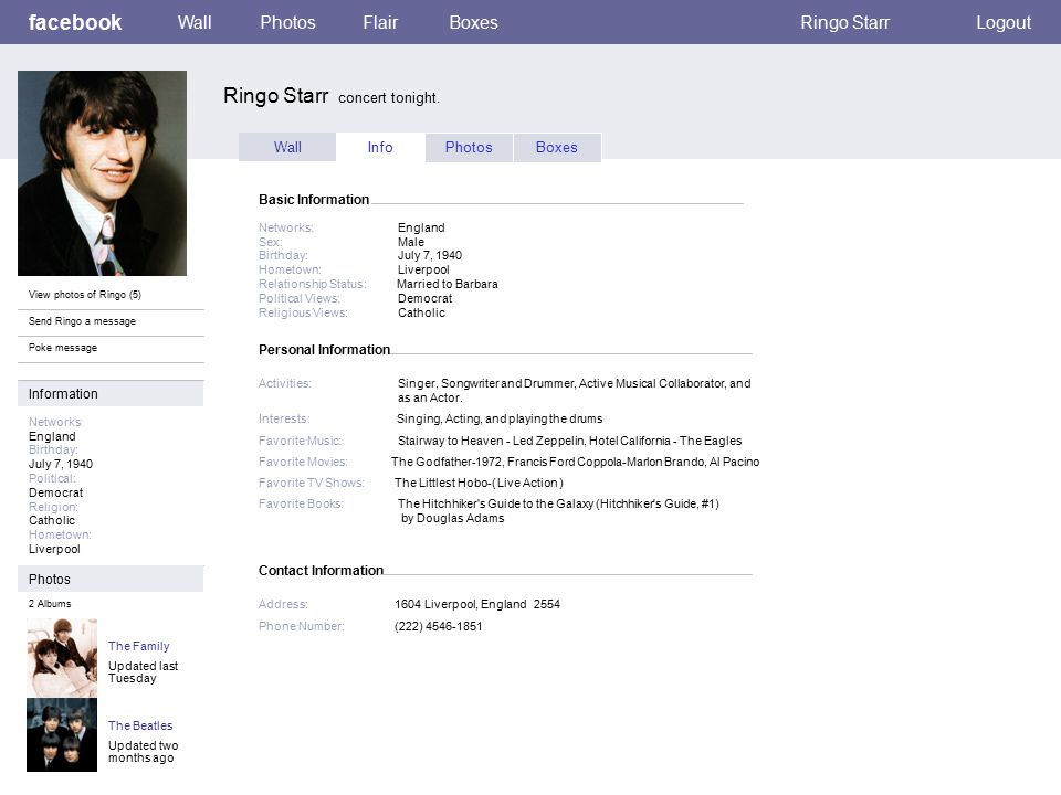 Personal Information facebook Ringo Starr concert tonight.