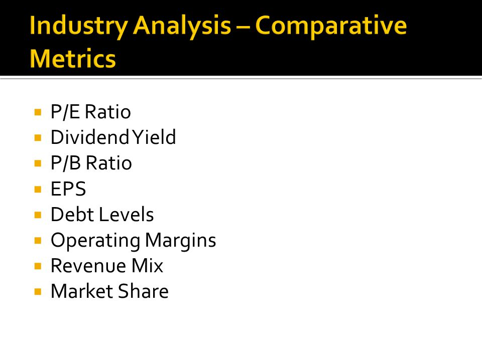  P/E Ratio  Dividend Yield  P/B Ratio  EPS  Debt Levels  Operating Margins  Revenue Mix  Market Share