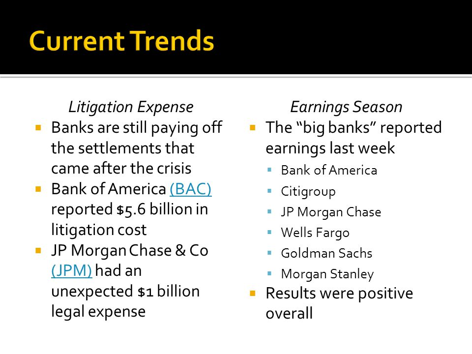 Litigation Expense  Banks are still paying off the settlements that came after the crisis  Bank of America (BAC) reported $5.6 billion in litigation cost(BAC)  JP Morgan Chase & Co (JPM) had an unexpected $1 billion legal expense (JPM) Earnings Season  The big banks reported earnings last week  Bank of America  Citigroup  JP Morgan Chase  Wells Fargo  Goldman Sachs  Morgan Stanley  Results were positive overall