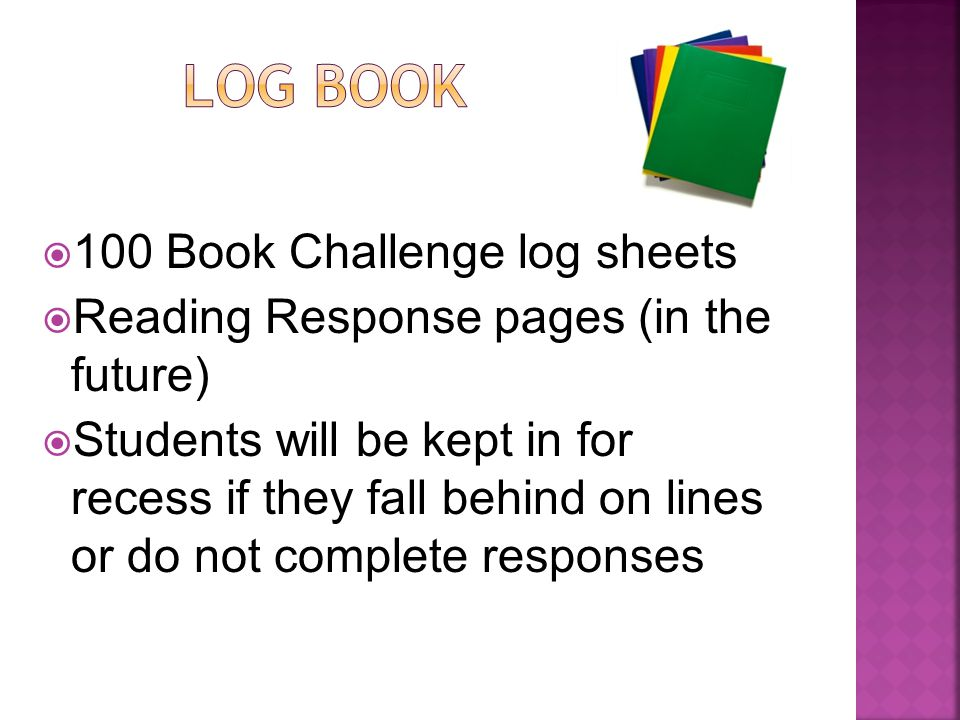  100 Book Challenge log sheets  Reading Response pages (in the future)  Students will be kept in for recess if they fall behind on lines or do not complete responses