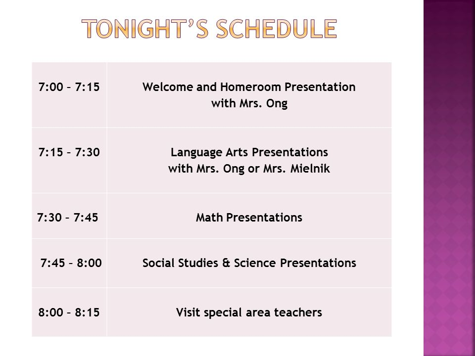 7:00 – 7:15 Welcome and Homeroom Presentation with Mrs. Ong 7:15 – 7:30 Language Arts Presentations with Mrs. Ong or Mrs. Mielnik 7:30 – 7:45 Math Pre