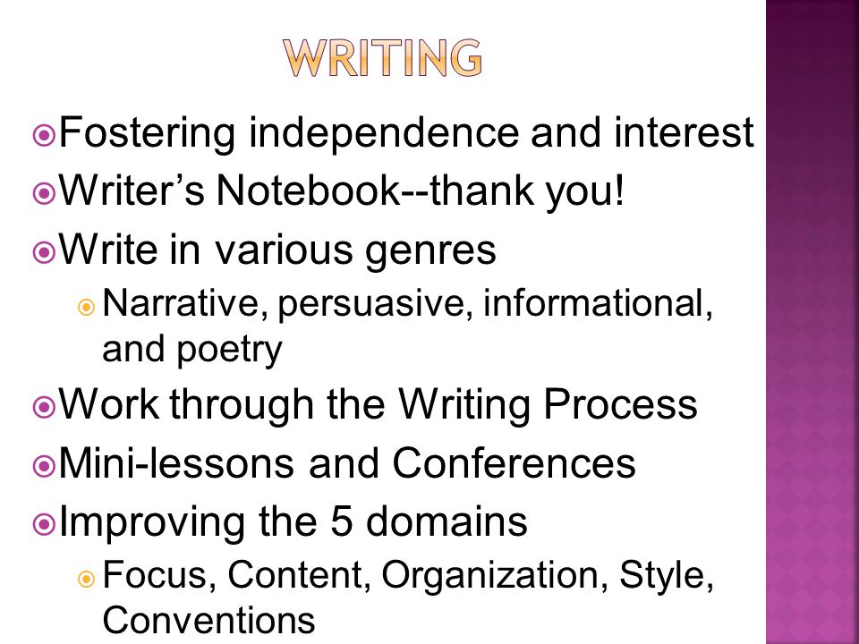  Fostering independence and interest  Writer's Notebook--thank you.