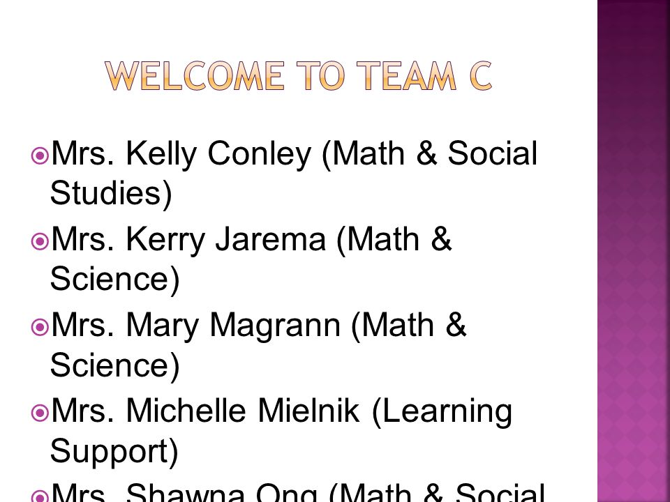  Mrs. Kelly Conley (Math & Social Studies)  Mrs.