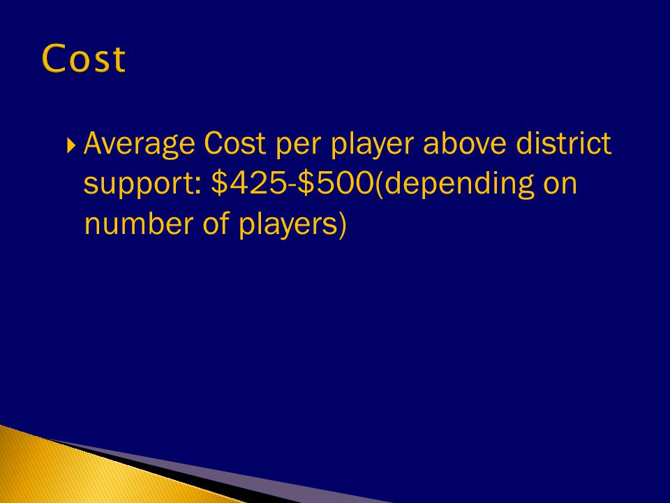  Average Cost per player above district support: $425-$500(depending on number of players)