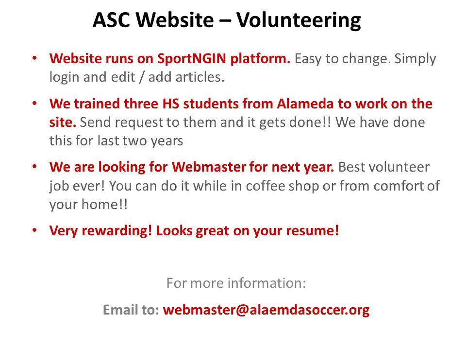 ASC Website – Volunteering Website runs on SportNGIN platform.