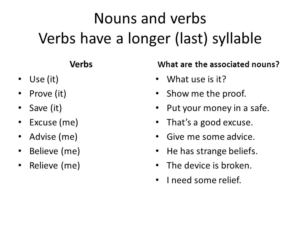 Nouns and verbs Verbs have a longer (last) syllable Verbs Use (it) Prove (it) Save (it) Excuse (me) Advise (me) Believe (me) Relieve (me) What are the associated nouns.