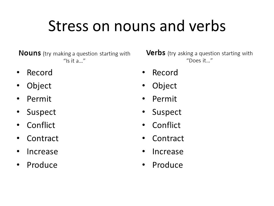 Stress on nouns and verbs Nouns (try making a question starting with Is it a… Record Object Permit Suspect Conflict Contract Increase Produce Verbs (try asking a question starting with Does it… Record Object Permit Suspect Conflict Contract Increase Produce