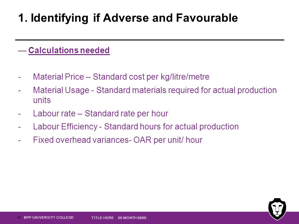 BPP UNIVERSITY COLLEGE 1. Identifying if Adverse and Favourable —Calculations needed -Material Price – Standard cost per kg/litre/metre -Material Usag