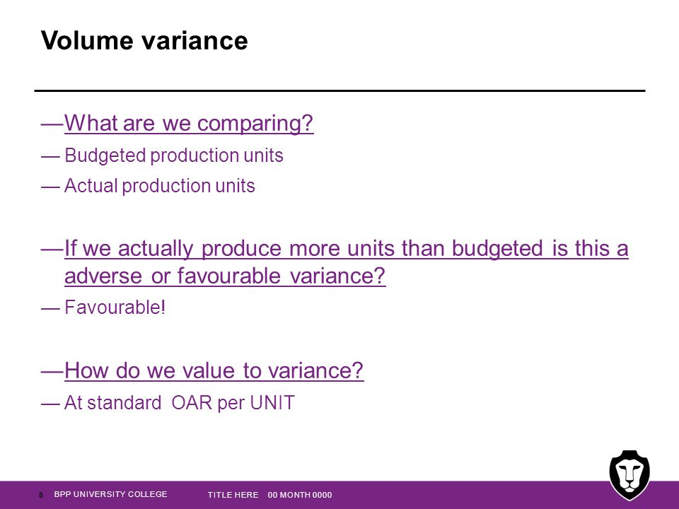 BPP UNIVERSITY COLLEGE Volume variance —What are we comparing.