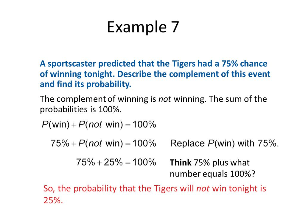 Example 7 A sportscaster predicted that the Tigers had a 75% chance of winning tonight.