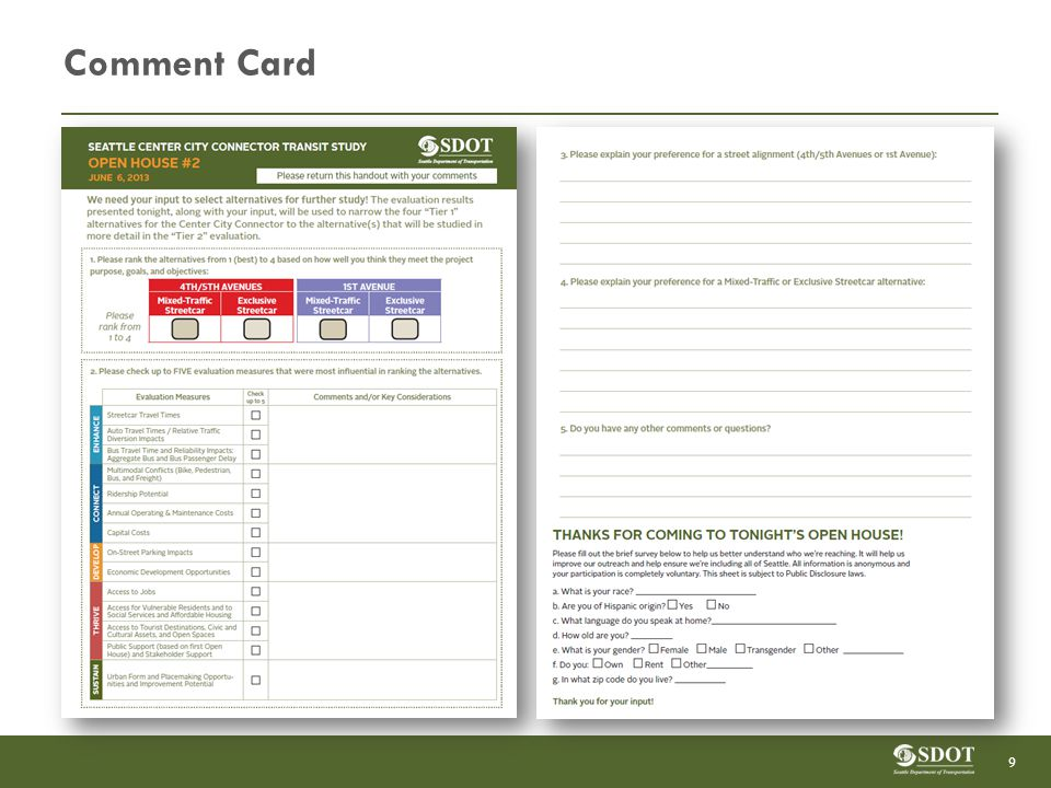 Comment Card 9