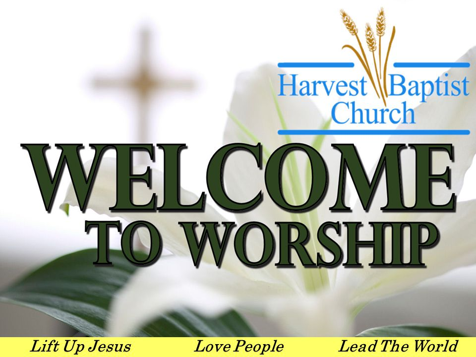 Lift Up JesusLove PeopleLead The World Sunday Worship Schedule 9:30 - 10:30Sunday School 10:45 - 12:00Worship Service 4:15 - 5:25HBC Handbells 5:00 – 6:00 Youth Ensembles/ Puppets/ special activities with youth and children 5:30 – 7:00Adult choir practice 6:00 – 7:00 Adult & Youth Discipleship & childrens choir