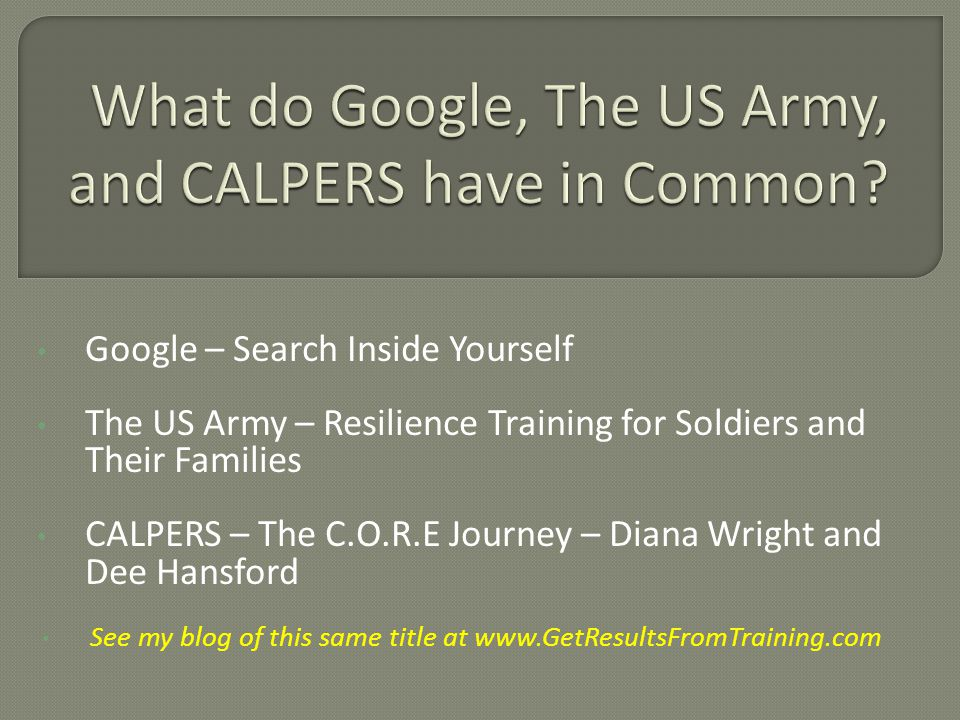 Google – Search Inside Yourself The US Army – Resilience Training for Soldiers and Their Families CALPERS – The C.O.R.E Journey – Diana Wright and Dee
