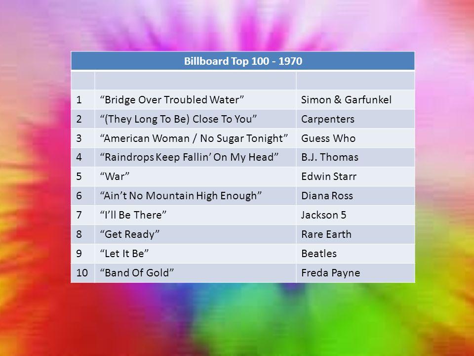 Billboard Top 100 - 1970 1 Bridge Over Troubled Water Simon & Garfunkel 2 (They Long To Be) Close To You Carpenters 3 American Woman / No Sugar Tonight Guess Who 4 Raindrops Keep Fallin' On My Head B.J.