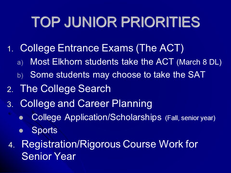 TOP JUNIOR PRIORITIES 1.